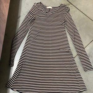 black and tan striped dress.